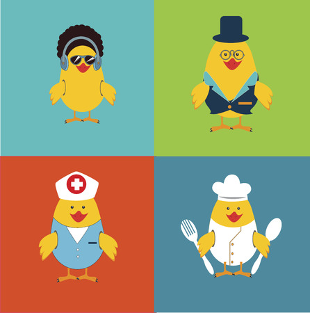 social network chicken cartoons design over colorful background vector illustration   Vector
