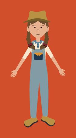 overall: farm girl cartoon design over orange background vector illustration