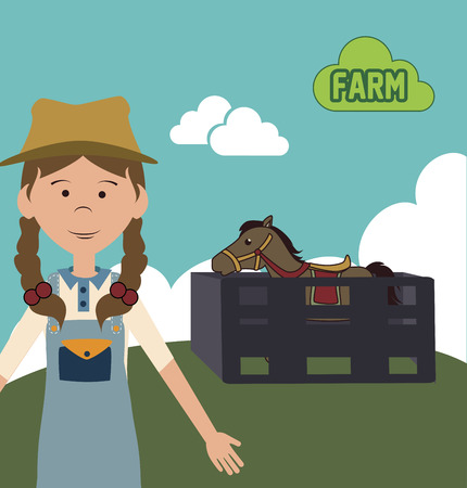 country girl: farm girl cartoon design over landscape background vector illustration