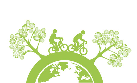 enviromental: eco flat design over white background vector illustration  Illustration
