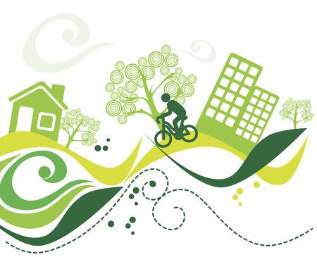 enviromental: ambiente verde sobre fondo blanco ilustraci�n vectorial