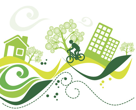 enviroment: green enviroment over white background vector illustration