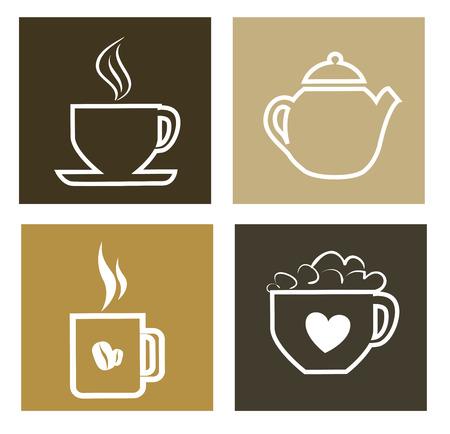 hot drinks design over brown background vector illustration