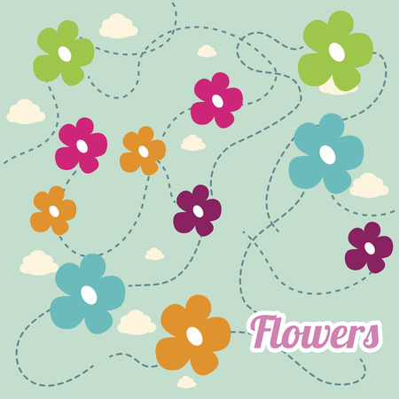 presentaion: flowers design over white blue background vector illustration   Illustration