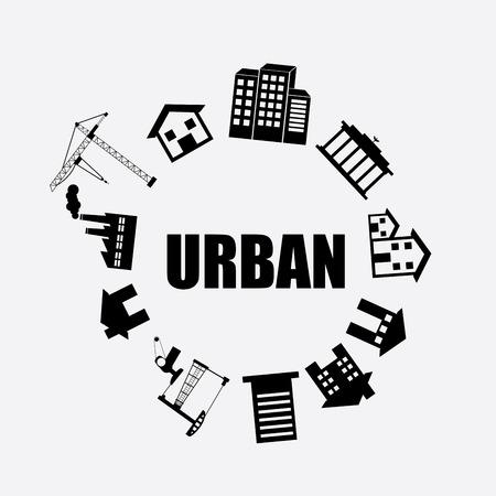 enviromental: dise�o urbano de la ciudad sobre fondo gris ilustraci�n vectorial