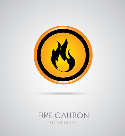 flammable materials: fire signal over gray background vector illustration