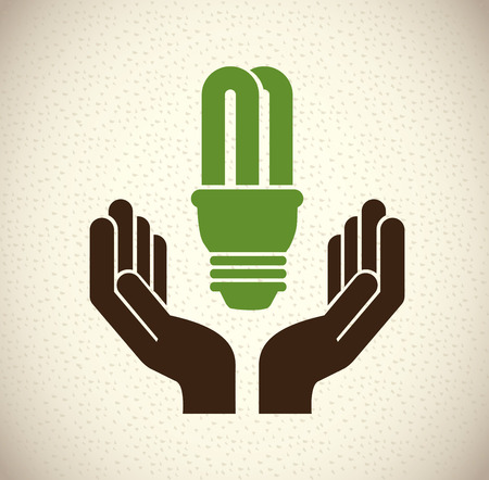 energy savings: ecology bulb over gray background vector illustration