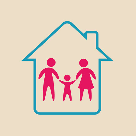secure home: family design over pink background vector illustration