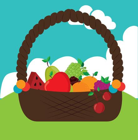 basket fruits design over landscape background vector illustration     Vector