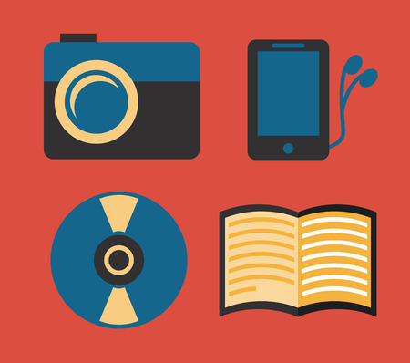 gadget and tecchnology design over  red background vector illustration Vector