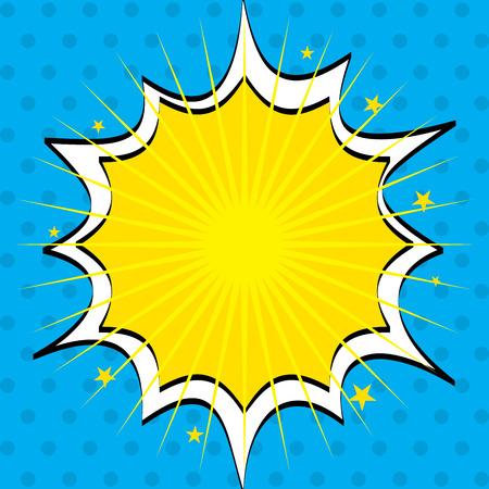 estrella caricatura: el arte pop con el texto pluma sobre el fondo de puntos ilustraci�n vectorial