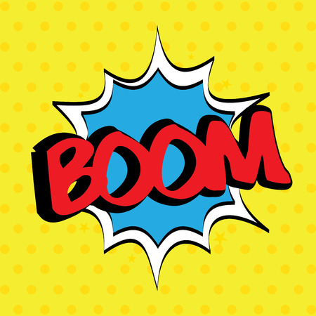 pop art with boom text over dotted background vector illustration   Vector