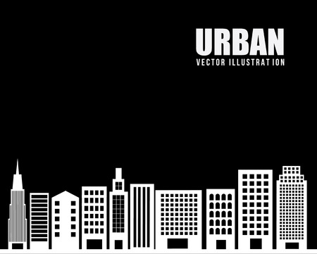 enviromental: dise�o urbano de la ciudad sobre fondo negro ilustraci�n vectorial