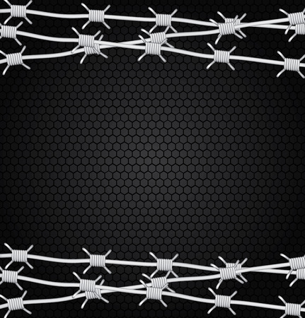 barbed wire over black background vector illustration