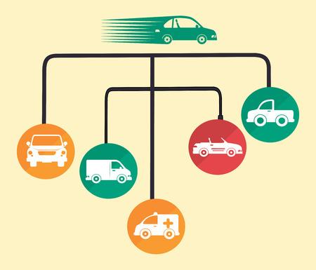 caravans: cars design over pink background vector illustration