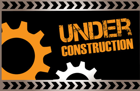 construction: under construction over black background vector illustration