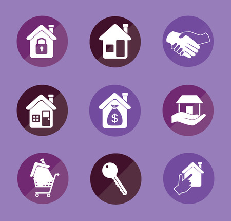 real estate over purple background vector illustration  Vector