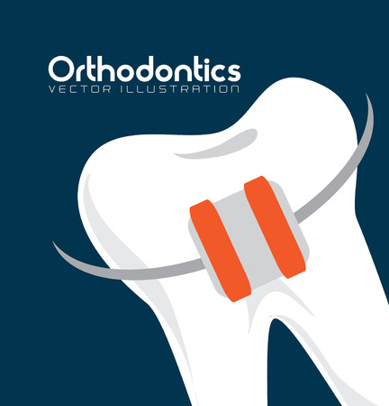 orthodontics: b cuidado dental sobre fondo azul ilustraci�n vectorial