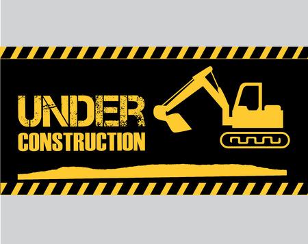 under construction over black background vector illustration