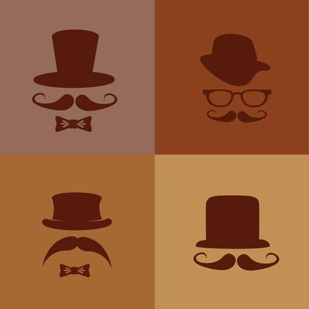 glases: hipster design over brown background vector  illustration   Illustration