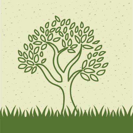 naturally: nature forst design over beige background vector illustration