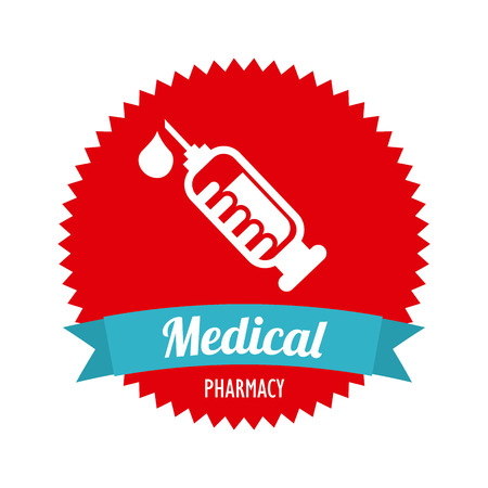 flu immunization: injection isolated over white background. vector illustration Illustration