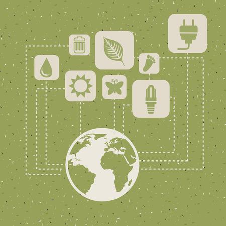 ecology design over green background vector illustration Illustration