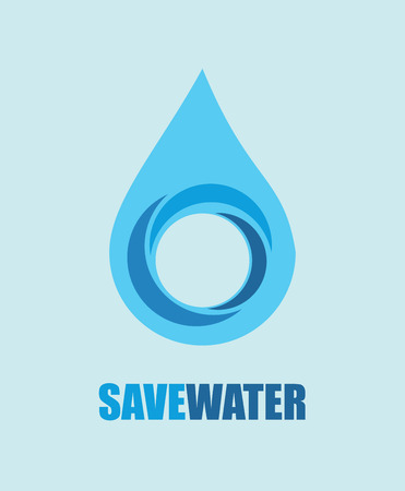 environmental awareness: save water design over blue background vector illustration  Illustration