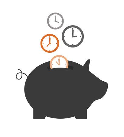 cash money: ahorro de tiempo de diseño sobre fondo blanco ilustración vectorial