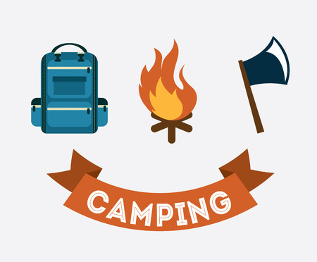 outdoor fire: camping design over  gray background vector illustration