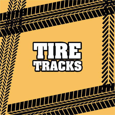 tire tracks over yellow background vector illustration  Vector