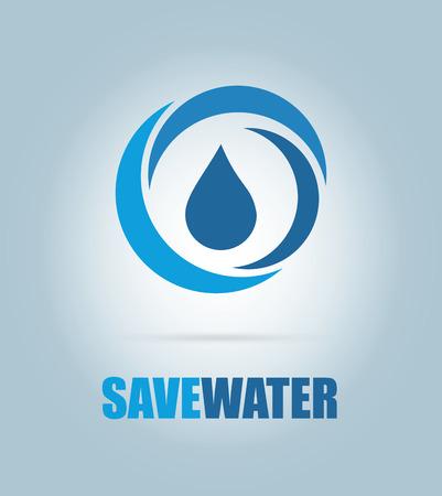 ahorrar agua: ahorrar agua de diseño sobre fondo azul ilustración vectorial