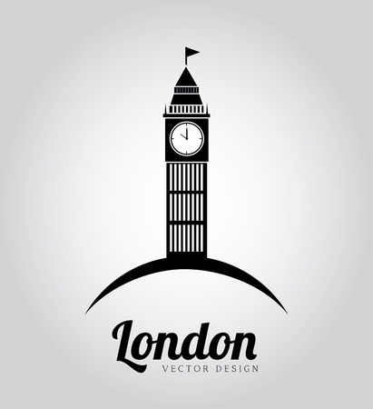 Big Ben over gray background vector illustration Vector