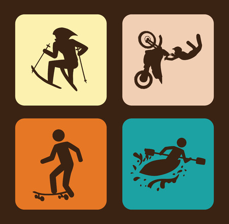 extreme sports over brown background vector illustration