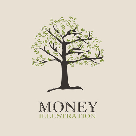 counting money: money tree design over beige background vector illustration