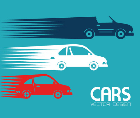 high speed: car design over blue background vector illustration  Illustration