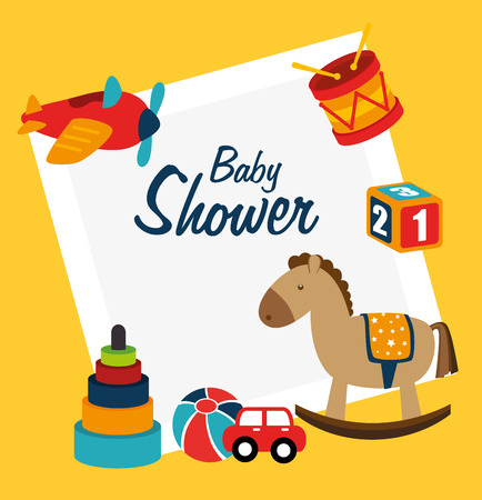 baby shower design  over yellow background vector illustration Vector