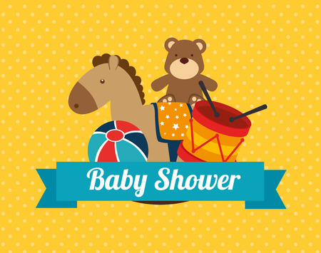 baby shower design  over dotted background vector illustration Vector