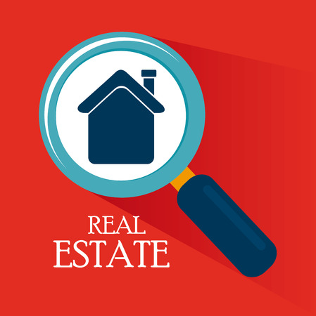 security search: real estate design over red background vector illustration Illustration
