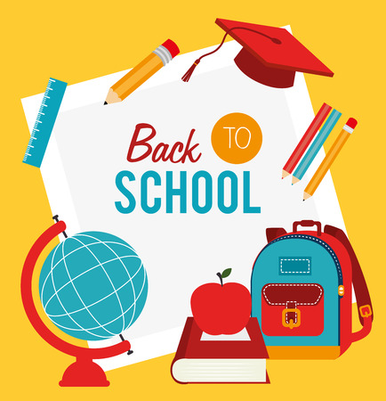 back to school over yellow background vector illustration  Vector