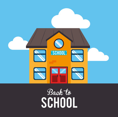 college building: back to school over lanscape background vector illustration