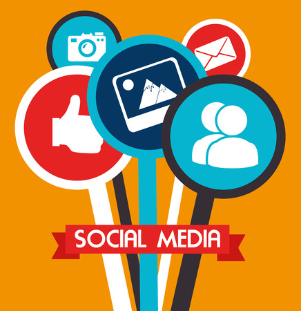 network devices: social media design over yellow background vector illustration