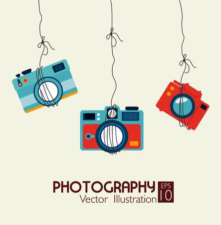 la photographie de conception sur fond beige illustration vectorielle Vecteurs