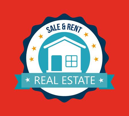 window seal: real estate design over red background vector illustration Illustration