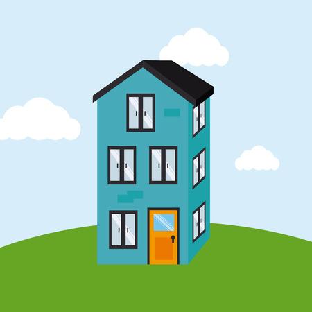real estate design over landscape  background vector illustration Vector