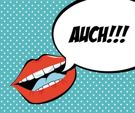word art: pop art design over dotted  background vector illustration