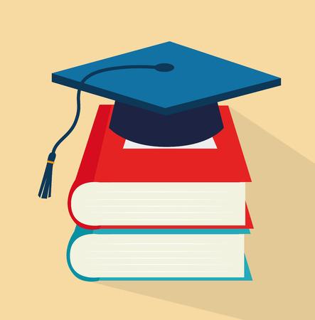 graduacion caricatura: dise�o de la escuela sobre fondo beige ilustraci�n vectorial