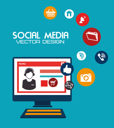 social media design over blue background vector illustration Vector