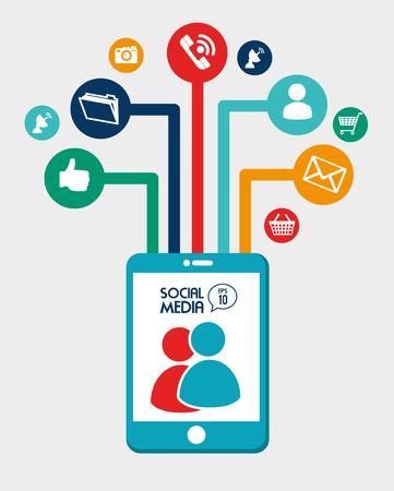 media gadget: social media design over gray background vector illustration Illustration