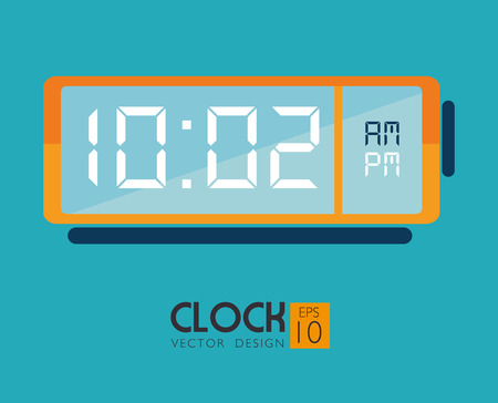 digital clock: timewatch over blue background vector illustration